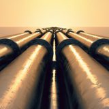 20039140 - tubes running in the direction of the setting sun. pipeline transportation is most common way of transporting goods such as oil, natural gas or water on long distances.